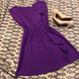 EUC⭐️ F21 Purple Side-Ruffle Dress w/ Keyhole Back